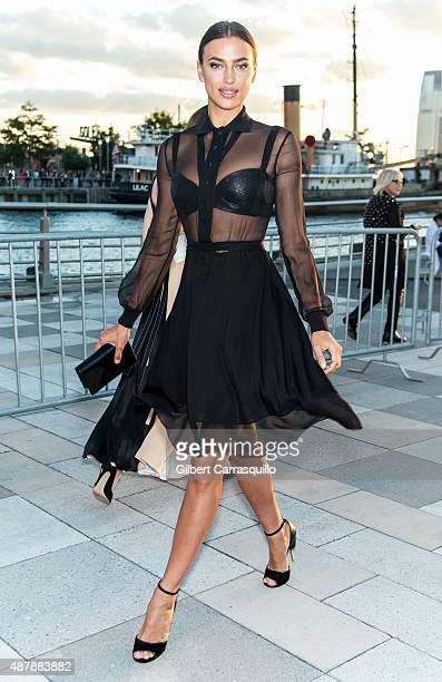 Model Irina Shayk is seen arriving at the Givenchy fashion show during Spring 2016 New York Fashion Week on September 11 2015 in New York City