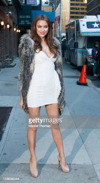 Model Irina Shayk is seen arriving at the 'Late Show With David Letterman' at the Ed Sullivan Theater on February 15 2011 in New York City