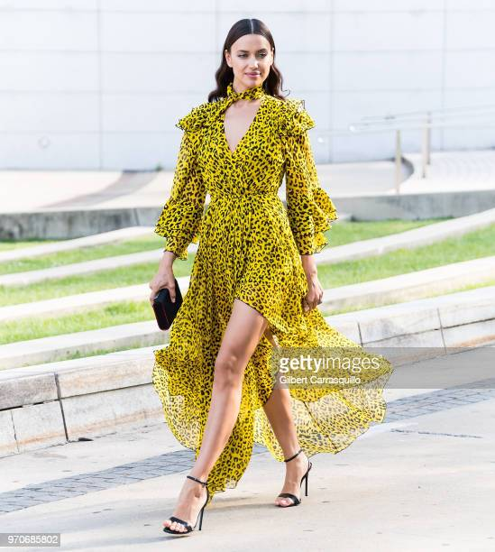 Model Irina Shayk is seen arriving to the 2018 CFDA Fashion Awards at Brooklyn Museum on June 4 2018 in New York City