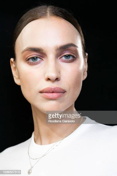 Model Irina Shayk is seen backstage ahead of the Max Mara show during Milan Fashion Week Spring/Summer 2019 on September 20, 2018 in Milan, Italy.