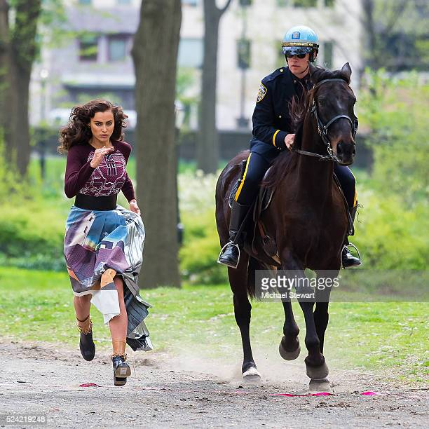 Model Irina Shayk is seen during a photoshoot in Central Park on April 25 2016 in New York City