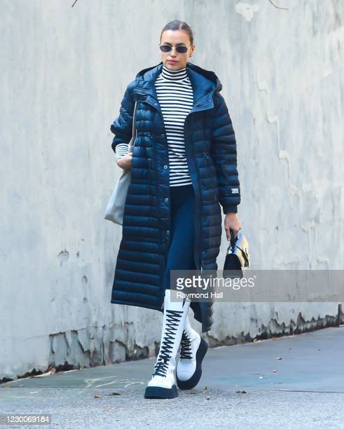 Model Irina Shayk is seen walking in SoHo on December 11, 2020 in New York City.