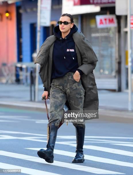 Model Irina Shayk is seen walking in SoHo on November 16, 2020 in New York City.
