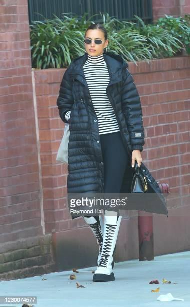 Model Irina Shayk is walking soho on December 11, 2020 in New York City.