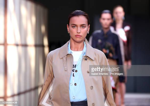 Model Irina Shayk on the catwalk during the Burberry London Fashion Week SS19 show held at The South London Mail Centre