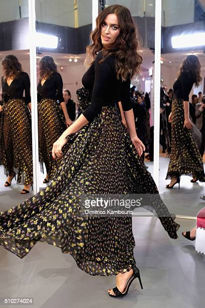 A model Irina Shayk poses wearing Diane Von Furstenberg Fall 2016 during New York Fashion Week on February 14 2016 in New York City