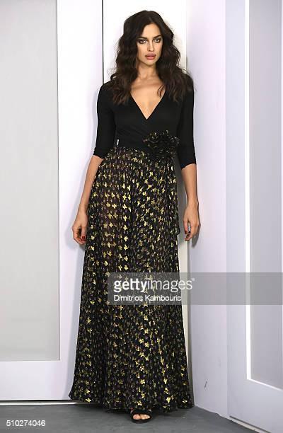 A model Irina Shayk poses wearing Diane Von Furstenberg Fall 2016 during New York Fashion Week on February 14 2016 in New York City