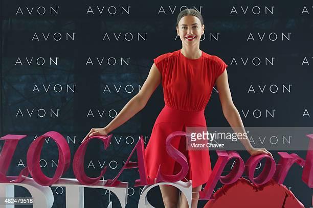 Model Irina Shayk promotes the new Avon campaing Locas Por Los Besos at St Regis Hotel on January 29 2015 in Mexico City Mexico