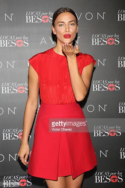 Model Irina Shayk promotes the new Avon campaing Locas Por Los Besos at St Regis Hotel on January 29 2015 in Mexico City Mexico