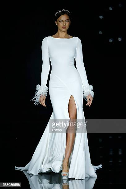 Model Irina Shayk walks the runway during Pronovias designed by Herve Moreau Season 2017 show as part of the Barcelona Bridal Fashion Week on April...