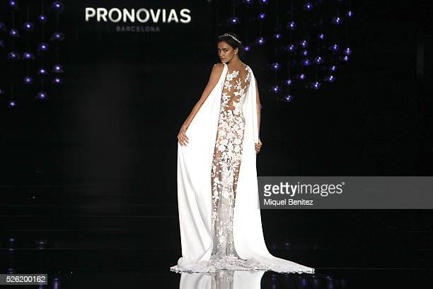 Model Irina Shayk walks the runway for Pronovias bridal collection during the 'Barcelona Bridal Fashion Week 2016' at Italian Pavilion of Fira...
