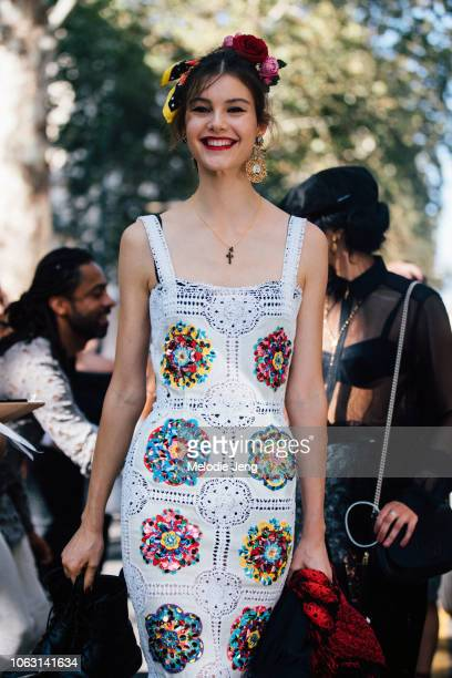 Model Irina Shnitman in her look after the Dolce Gabbana show during Milan Fashion Week Spring/Summer 2019 on September 23 2018 in Milan Italy