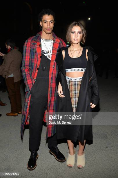 Model Iris Law and Kelvin Bueno wearing Burberry at the Burberry February 2018 show during London Fashion Week at Dimco Buildings on February 17 2018...