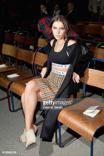 Model Iris Law wearing Burberry at the Burberry February 2018 show during London Fashion Week at Dimco Buildings on February 17, 2018 in London,...