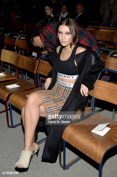 Model Iris Law wearing Burberry at the Burberry February 2018 show during London Fashion Week at Dimco Buildings on February 17 2018 in London England