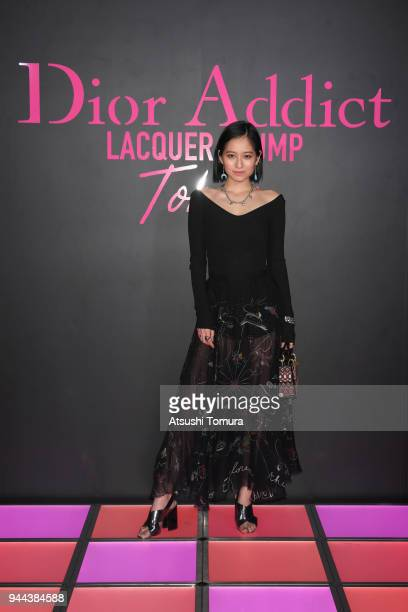 Model Iruka attends the Dior Addict Lacquer Plump Party at 1 OAK on April 10 2018 in Tokyo Japan