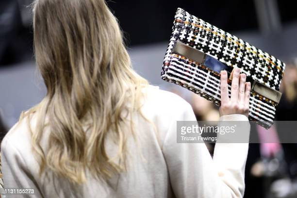 A model is backstage ahead of the Anteprima show at Milan Fashion Week Autumn/Winter 2019/20 on February 21 2019 in Milan Italy