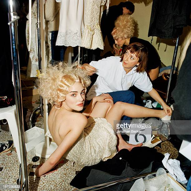 Model is photographed for Vanity Fair Magazine on January 18 1998 backstage at Christian Lacroix show at Le Grand Hotel in Paris France PUBLISHED IN...