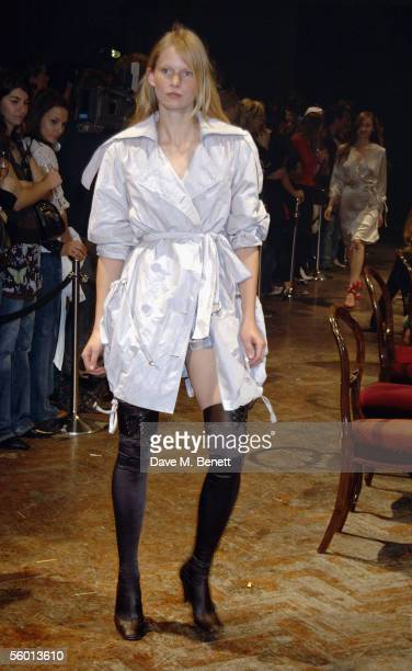 A model is pictured at the launch party celebrating designer Stella McCartney's collaboration with highstreet fashion chain HM at St Olave's House on...
