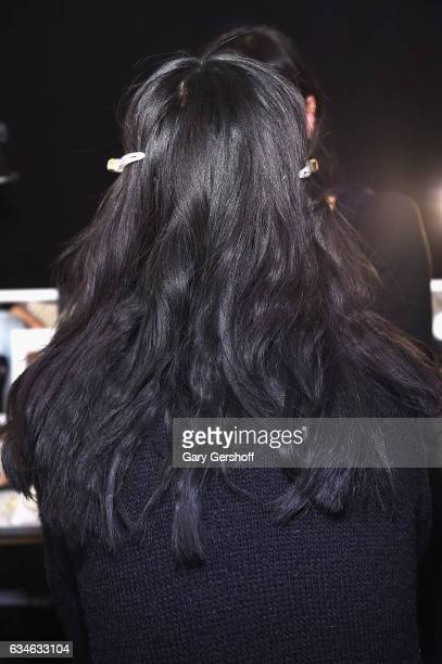 A model is prepared backstage at the Cushnie Et Ochs fashion show during February 2017 New York Fashion Week at Gallery 1 Skylight Clarkson Sq on...