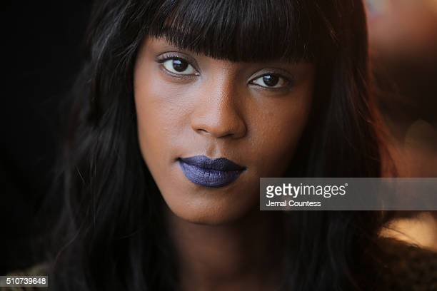 A model is prepped backstage at the Ohne Titel Fall 2016 fashion show at Sixty Tenth on February 16 2016 in New York City