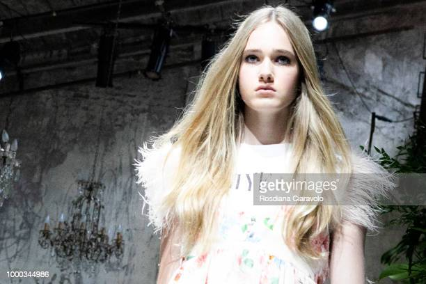 A model is runway hair detail seen backstage ahead of the Aniye By Fashion Show SS19 on July 16 2018 in Milan Italy