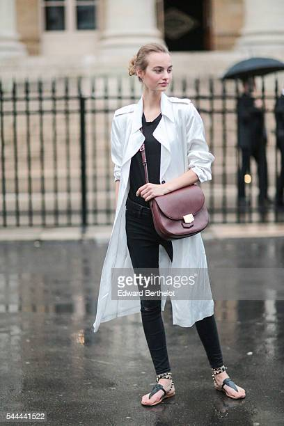 A model is seen after the Atelier Versace show at Palais Brongniart during Paris Fashion Week Haute Couture F/W 2016/2017 on July 3 2016 in Paris...