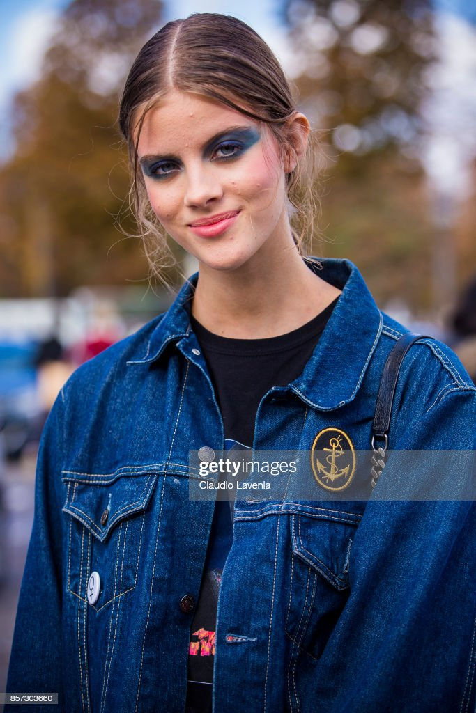 A model is seen after the Chanel show during Paris Fashion Week Womenswear SS18 on October 3, 2017 in Paris, France.
