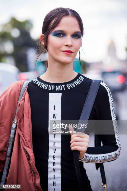 A model is seen after the Chanel show during Paris Fashion Week Womenswear SS18 on October 3 2017 in Paris France