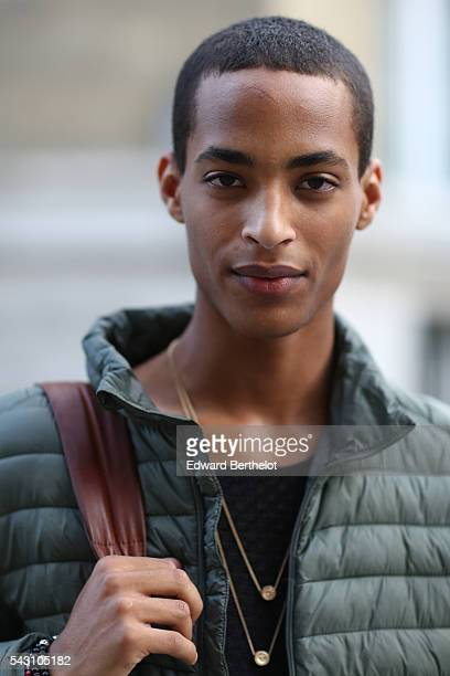 Model is seen, after the Hermes show, during Paris Fashion Week Menswear Spring/summer 2017, on June 25, 2016 in Paris, France.