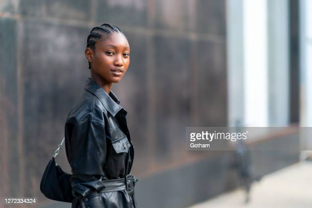 Model is seen after the Jason Wu fashion show during New York Fashion Week: The Shows at Spring Studio on September 13, 2020 in New York City.