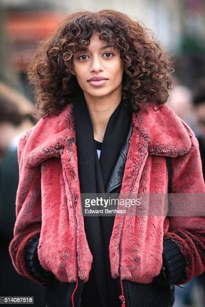 A model is seen after the Roland Mouret show during Paris Fashion Week Womenswear Fall Winter 2016/2017 on March 6 2016 in Paris France