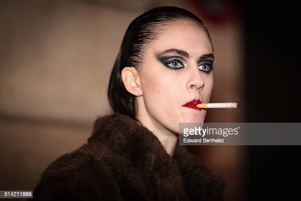 A model is seen after the SaintLaurent show during Paris Fashion Week Womenswear Fall Winter 2016/2017 on March 7 2016 in Paris France