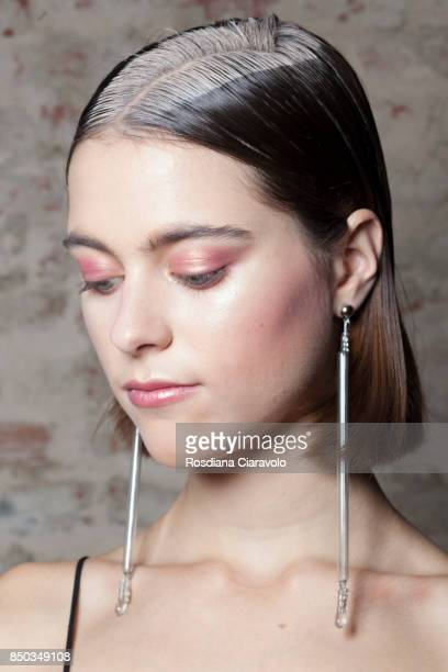A model is seen ahead backstage of the Alberto Zambelli show during Milan Fashion Week Spring/Summer 2018 on September 20 2017 in Milan Italy
