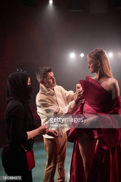 Model is seen ahead of the Cihan Nacar Lookbook for Istanbul Fashion Week on April 15, 2021 in Istanbul, Turkey.