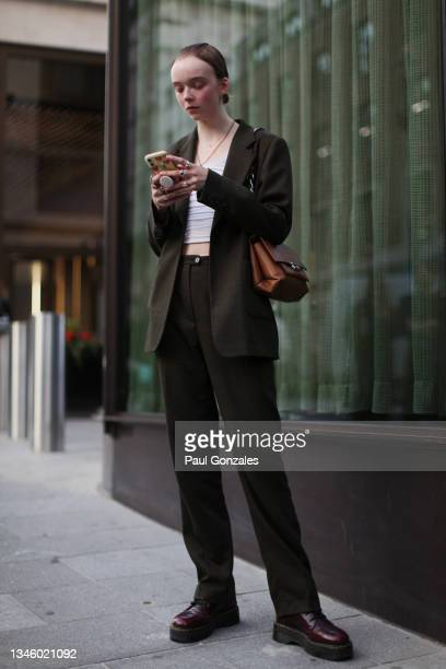 Model is seen at Richard Quinn during London Fashion Week September 2021 on September 21, 2021 in London, England.