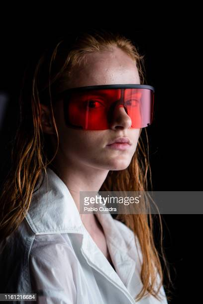 A model is seen at the backstage before the runway at the Duarte show during Mercedes Benz Fashion Week Madrid Spring/Summer 2020 at Ifema on July 10...