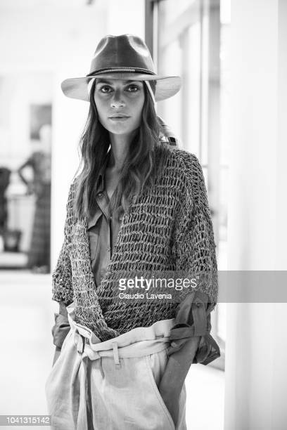 Model is seen at the Brunello Cucinelli during Milan Fashion Week Spring/Summer 2019 on September 19 2018 in Milan Italy