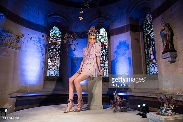 A model is seen at the Sophia Webster AW16 presentation on day 4 of London Fashion Week Autumn Winter 2016 at The Chapel Of St Barnabas on February...
