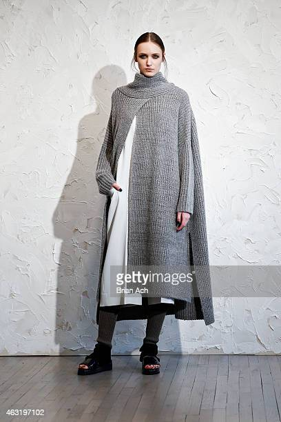 A model is seen at the Victor Alfaro Presentation during MercedesBenz Fashion Week Fall 2015 on February 11 2015 in New York City