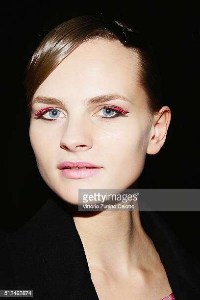 A model is seen backstage ahead of Emporio Armani show during Milan Fashion Week Fall/Winter 2016/17 on February 26 2016 in Milan Italy