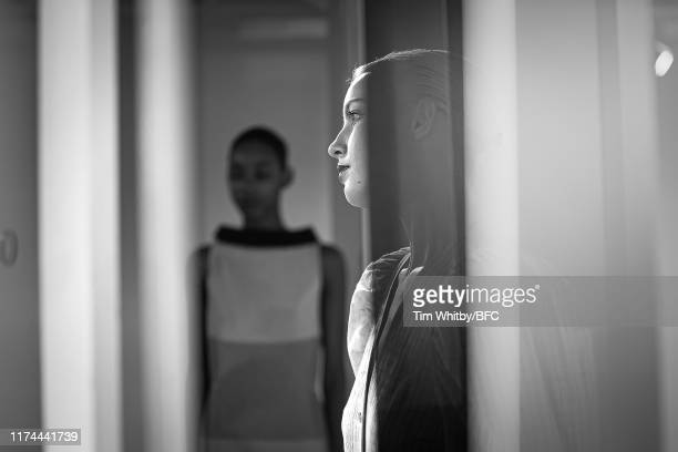 Model is seen backstage ahead of Gayeon lee show during London Fashion Week September at Foyles on 2019 on September 13, 2019 in London, England.