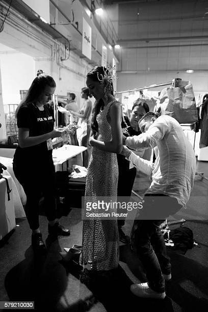 A model is seen backstage ahead of the 3D Fashion Presented By Lexus show during Platform Fashion July 2016 at Areal Boehler on July 23 2016 in...