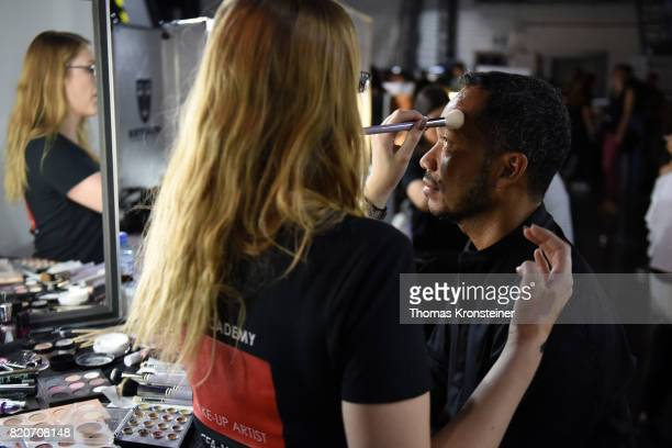 A model is seen backstage ahead of the 3D Fashion Presented By Lexus/Voxelworld show during Platform Fashion July 2017 at Areal Boehler on July 22...