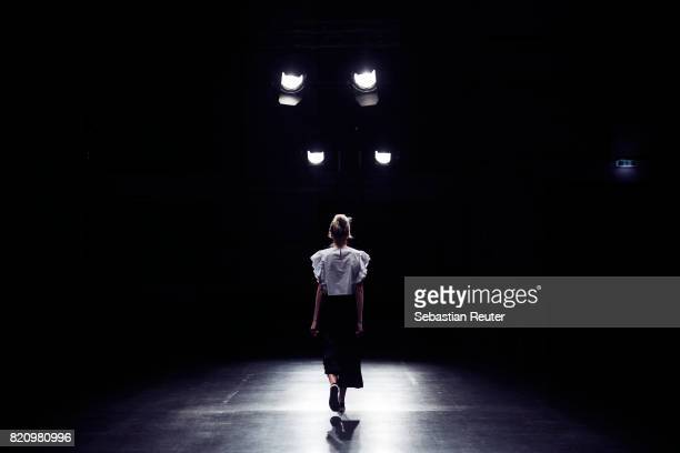 Model is seen backstage ahead of the 3D Fashion Presented By Lexus/Voxelworld show during Platform Fashion July 2017 at Areal Boehler on July 22,...