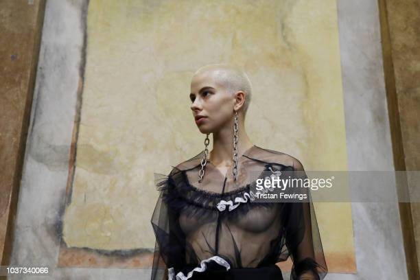 A model fashion detail is seen backstage ahead of the Act n1 show during Milan Fashion Week Spring/Summer 2019 on September 21 2018 in Milan Italy