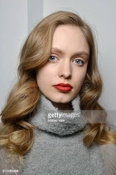 A model is seen backstage ahead of the Agnona show during Milan Fashion Week Fall/Winter 2016/17 on February 26 2016 in Milan Italy