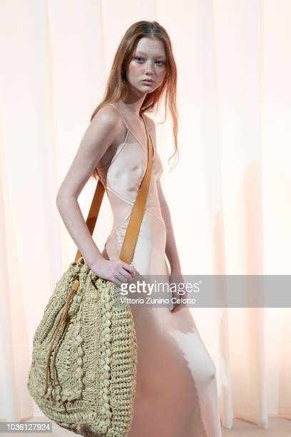 A model is seen backstage ahead of the Alberta Ferretti show during Milan Fashion Week Spring/Summer 2019 on September 19 2018 in Milan Italy