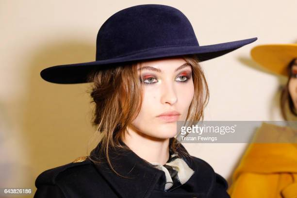 Model is seen backstage ahead of the Alberta Ferretti show during Milan Fashion Week Fall/Winter 2017/18 on February 22 2017 in Milan Italy
