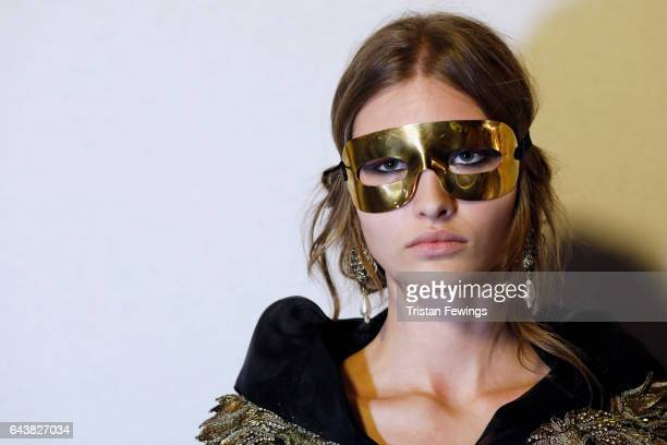 A model is seen backstage ahead of the Alberta Ferretti show during Milan Fashion Week Fall/Winter 2017/18 on February 22 2017 in Milan Italy
